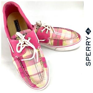 Pink Plaid Sperry Top Sider Two Eyelet Lace Size 8